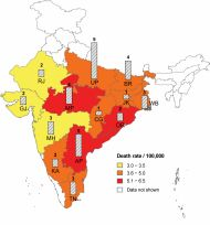 Figure 3: Estimated deaths and standardized death rates in states with high prevalence of snakebite deaths, 2005 Death rates are standardised to 2005 UN population estimates for India. The vertical bars represent the state wise estimated deaths (in thousands). Total snakebite deaths for the 13 states with high-prevalence of snakebite death are 42,800 or 93% of the national total (these states have about 85% of the total estimated population of India). States where the snakebite death rate was below 3/100,000 or where populations are less than 10 million are not shown. The states with high-prevalence of snakebite deaths are: AP-Andhra Pradesh, BR-Bihar, CG559 Chhattisgarh, GJ-Gujarat, JH-Jharkhand, KA-Karnataka, MP Madhya Pradesh, MH560 Maharashtra, OR-Orissa, RJ- Rajasthan, TN-Tamil Nadu, UP-Uttar Pradesh, WB561 West Bengal.  Source: Mohapatra B, Warrell DA, Suraweera W, Bhatia P, Dhingra N, et al. (2011) Snakebite Mortality in India: A Nationally Representative Mortality Survey. PLoS Negl Trop Dis 5(4): e1018. doi:10.1371/journal.pntd.0001018